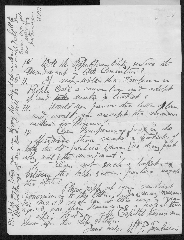 William Tomlinson to Governor John St. John - 2