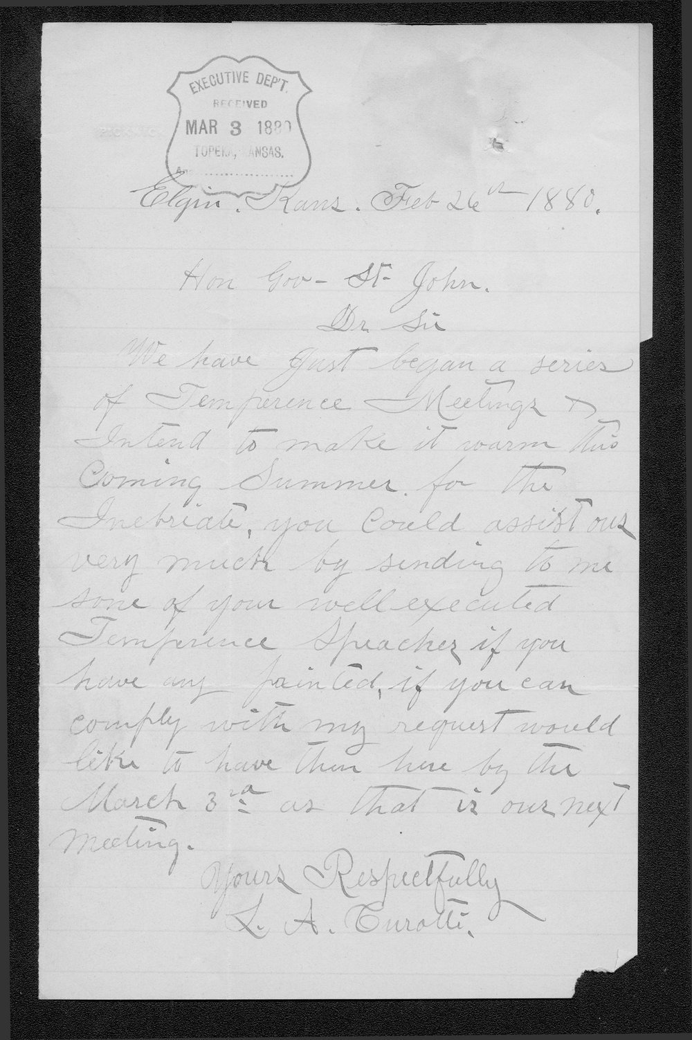 L.A. Curatte to Governor St. John