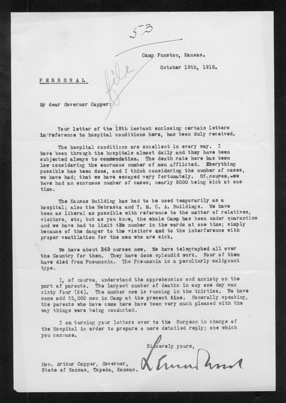 General Leonard Wood to Governor Arthur Capper