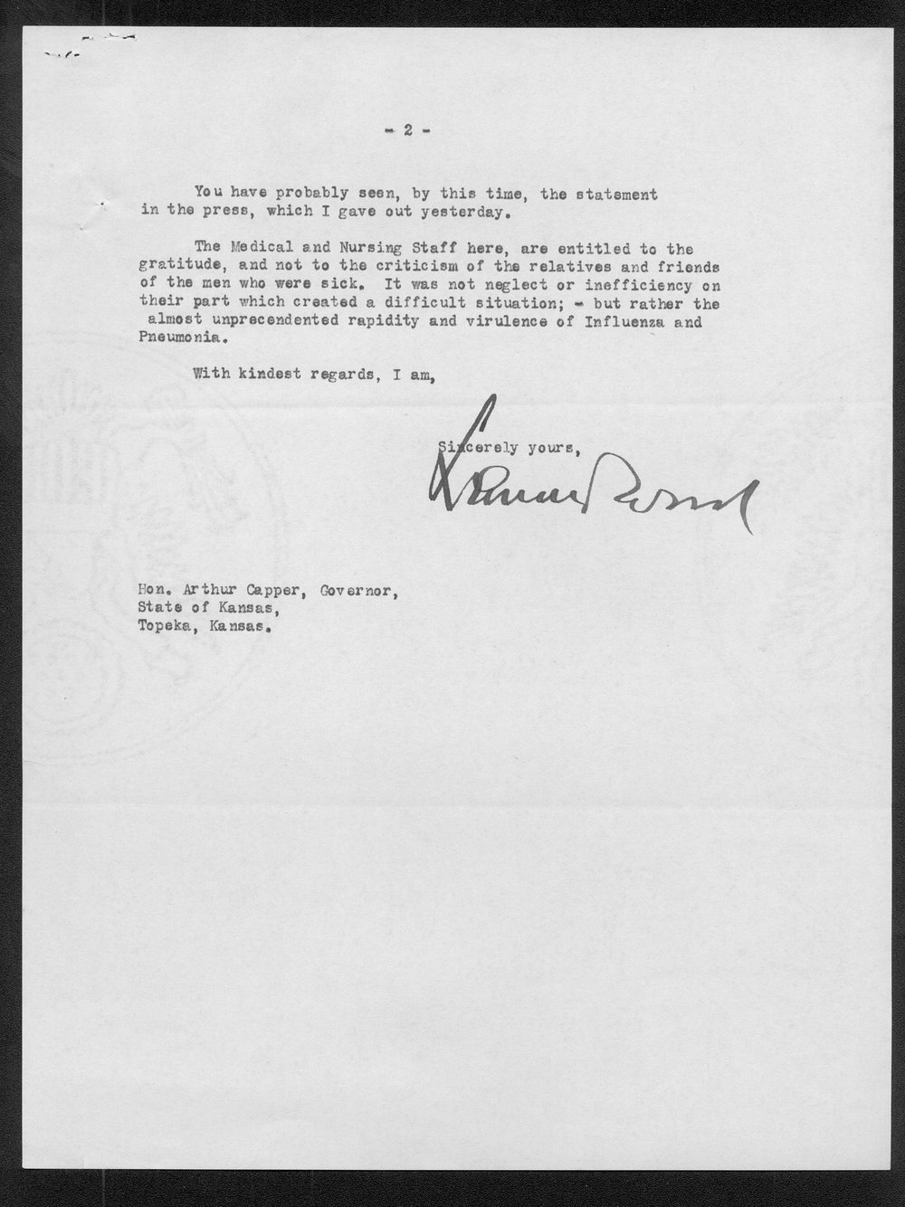 General Leonard Wood to Governor Arthur Capper - 2