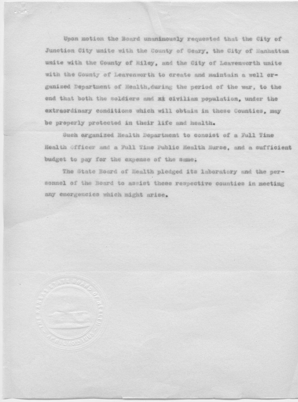 Samuel Crumbine to Governor Arthur Capper - 4
