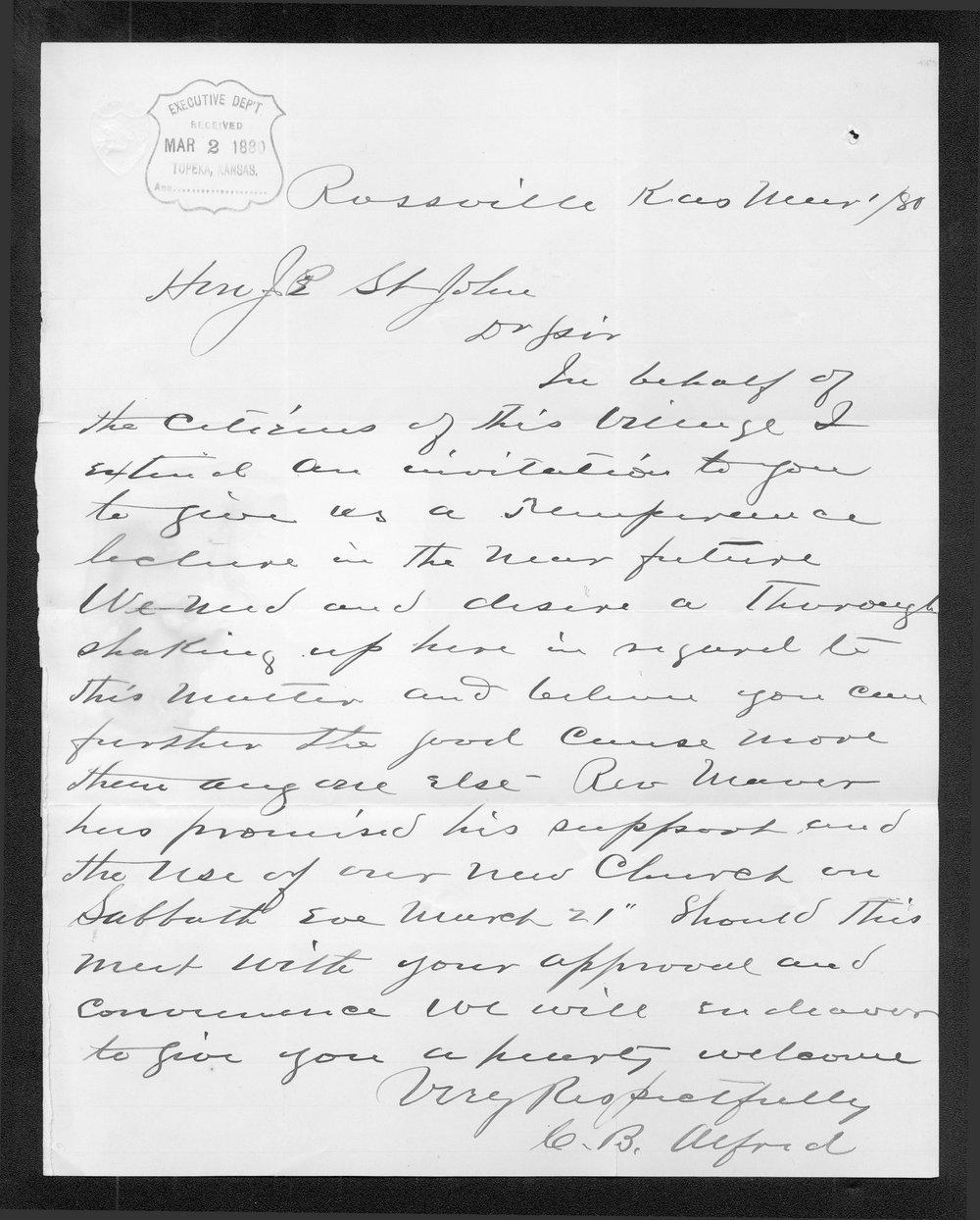 C. B. Alford to Governor John St. John