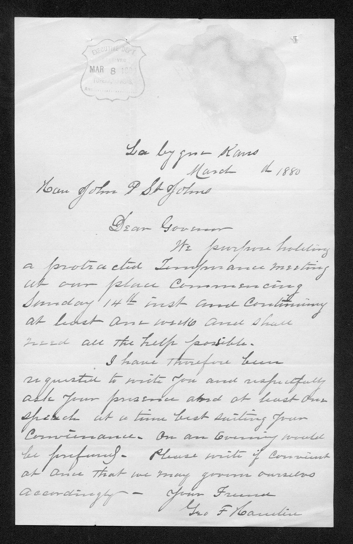 George Hamlin to Governor John St. John
