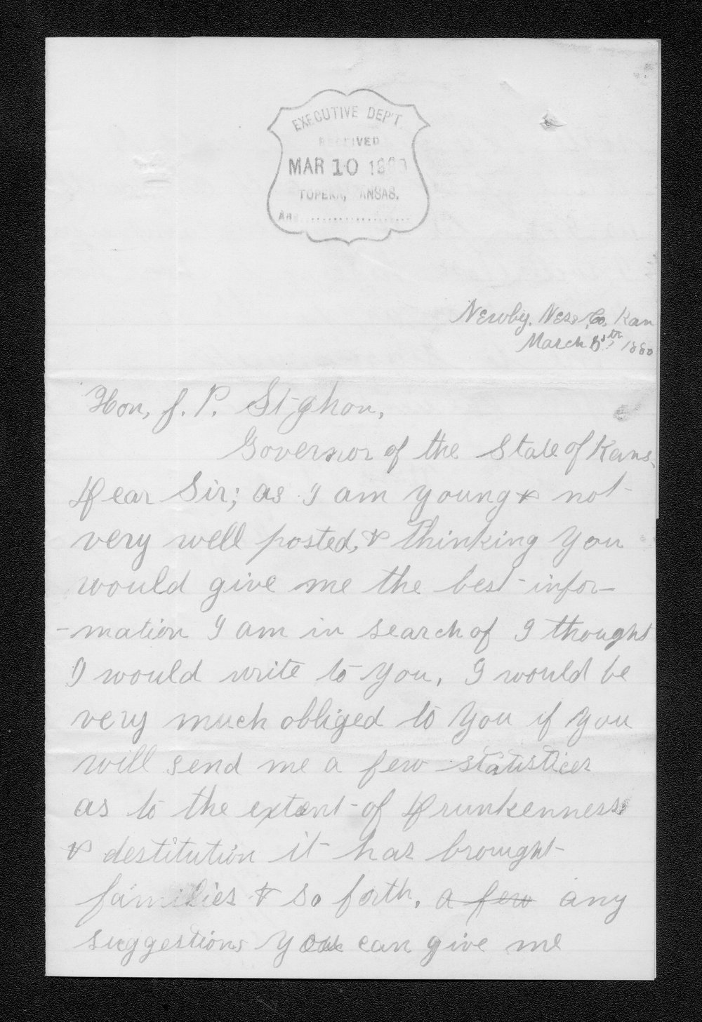 William S. Newby to Governor John St. John - 1