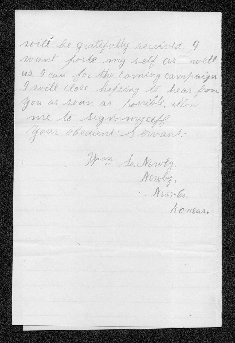 William S. Newby to Governor John St. John - 2
