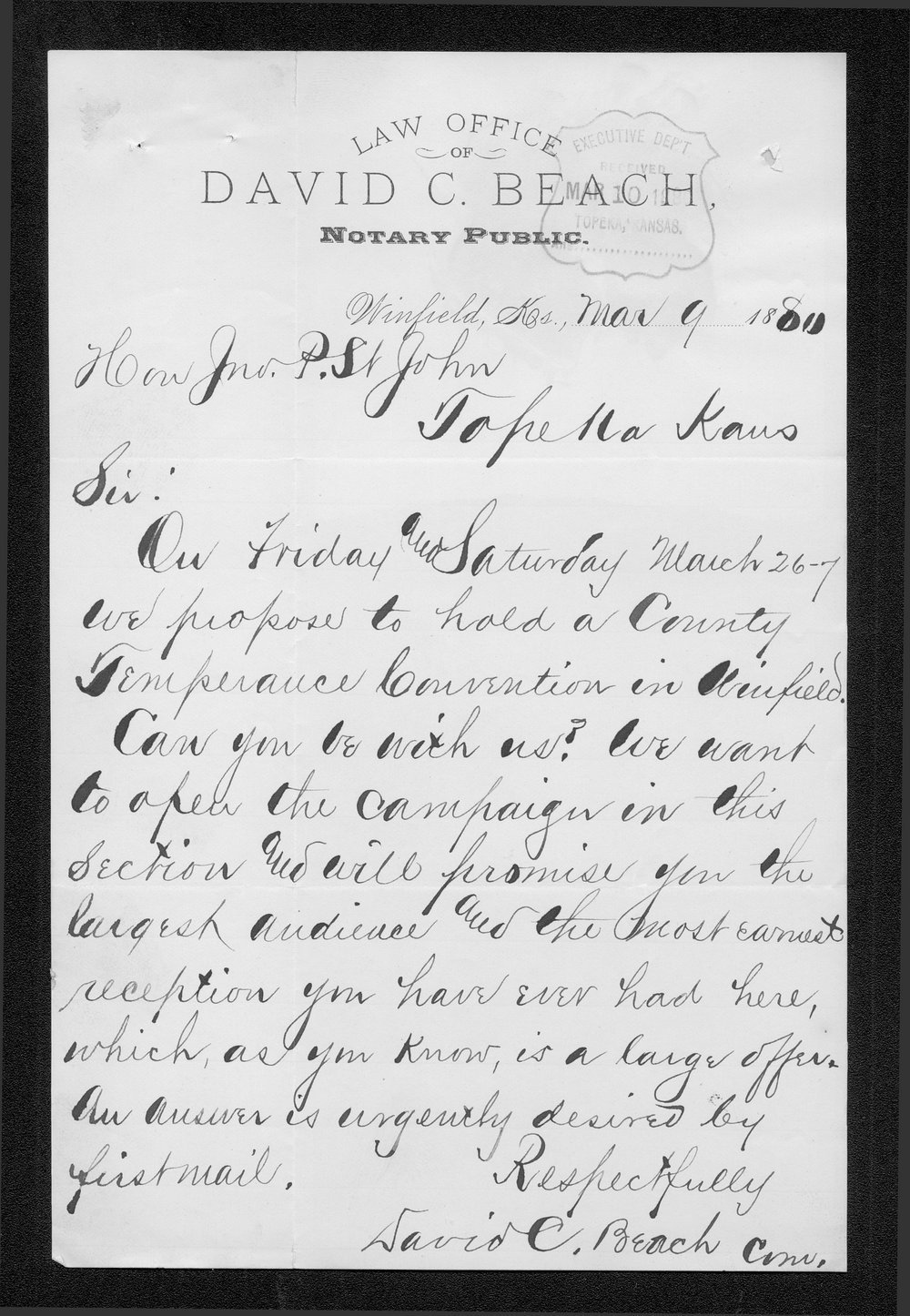 David C. Beach to Governor John St. John