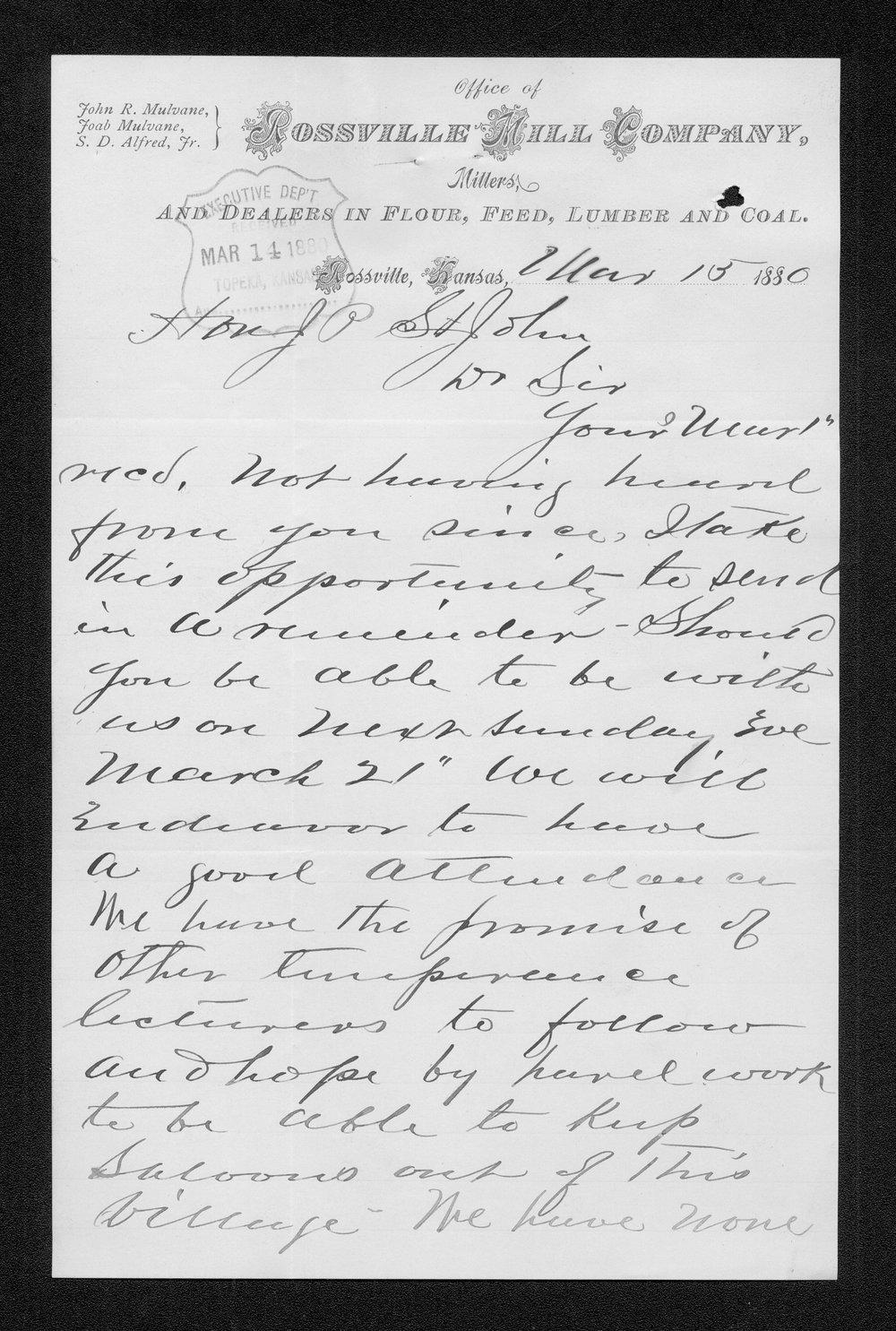 C.B. Alfred to Governor John St. John - 1