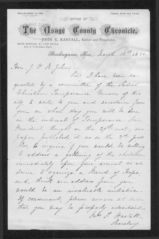Mrs. F. Rastall to Governor John St. John