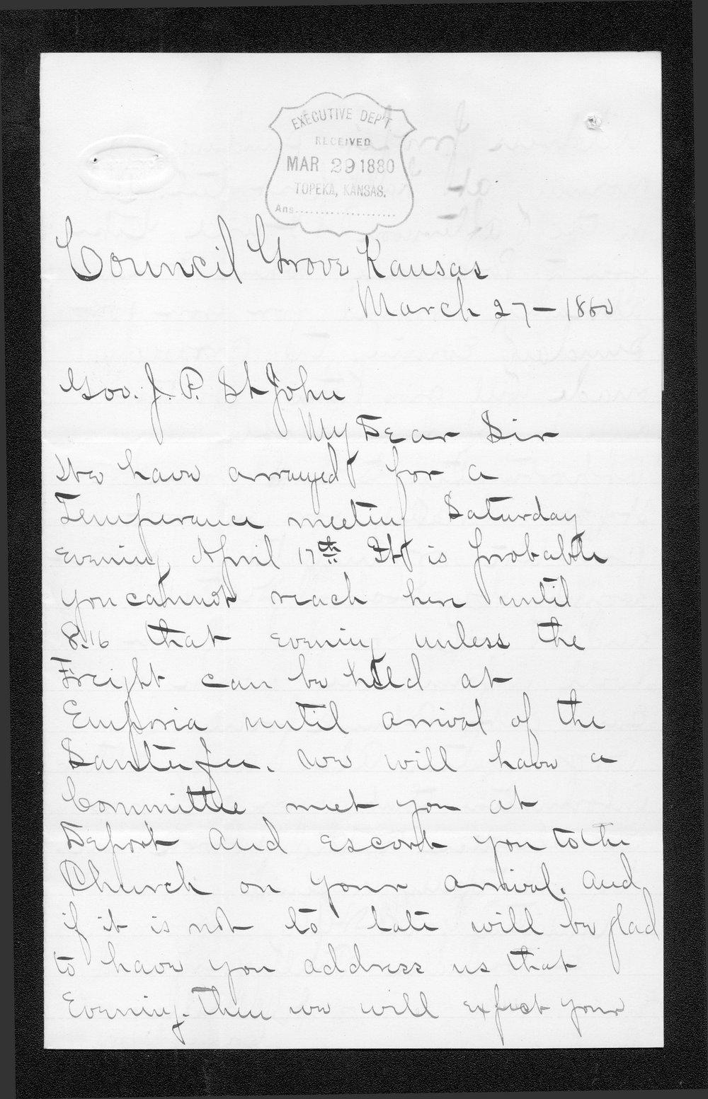 J. M. Miller to Governor John St. John - 1