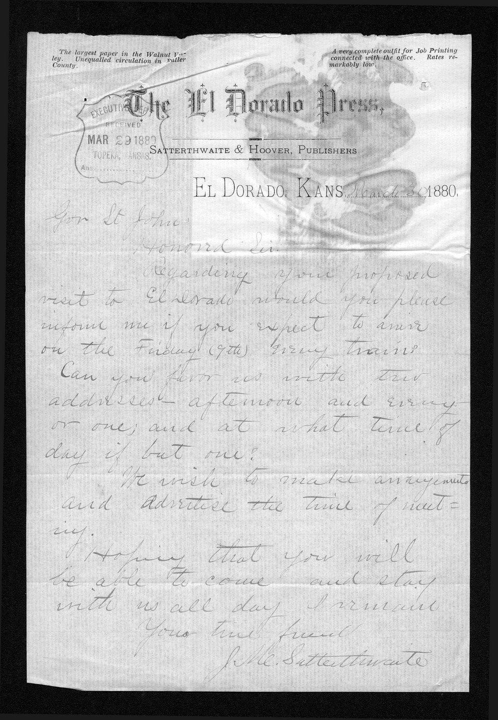 J. M. Satterthwaite to Governor John St. John
