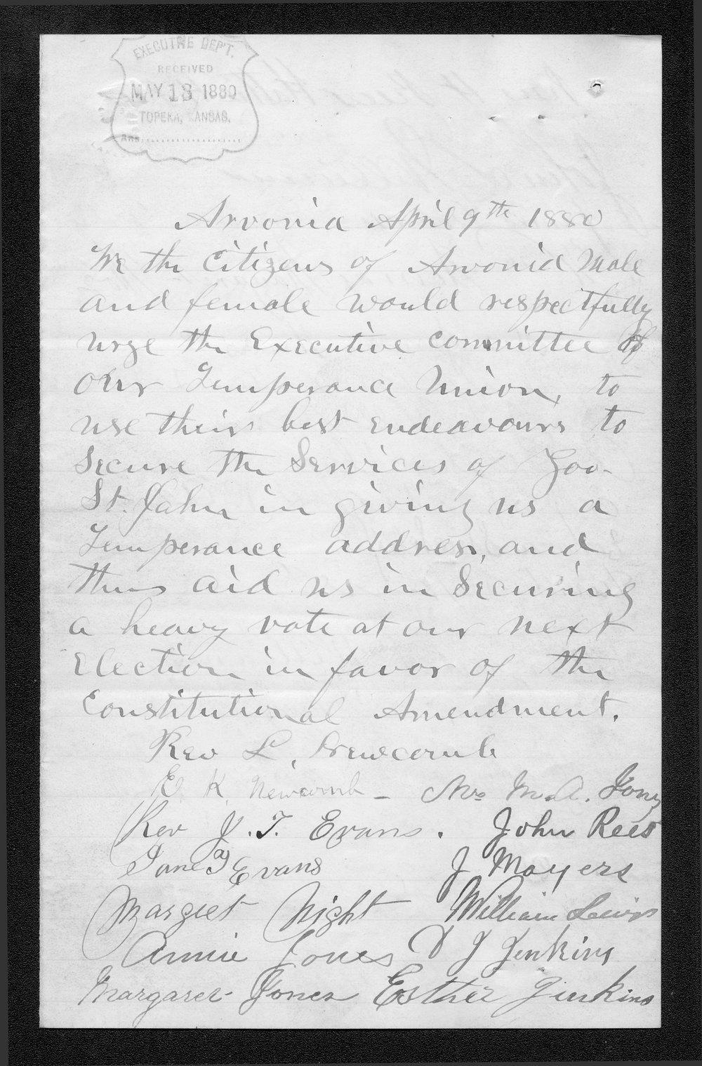 Citizens of Arvonia to Governor John St. John - 1