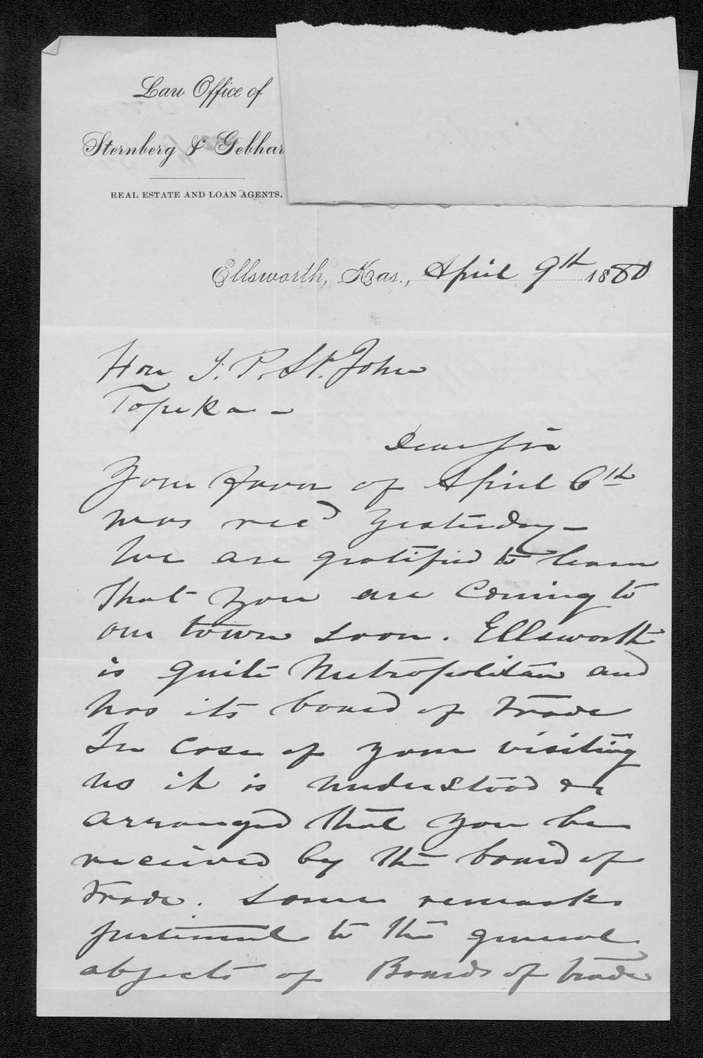 Theodore Sternberg to Governor John St. John - 1