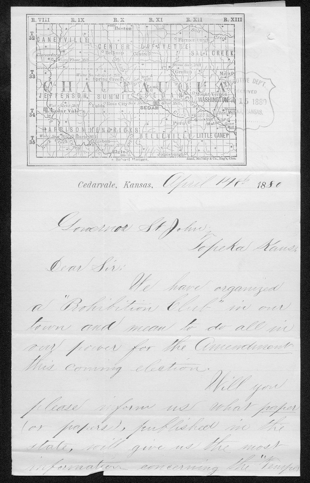 R. F. Glenn to Governor John St. John - 1