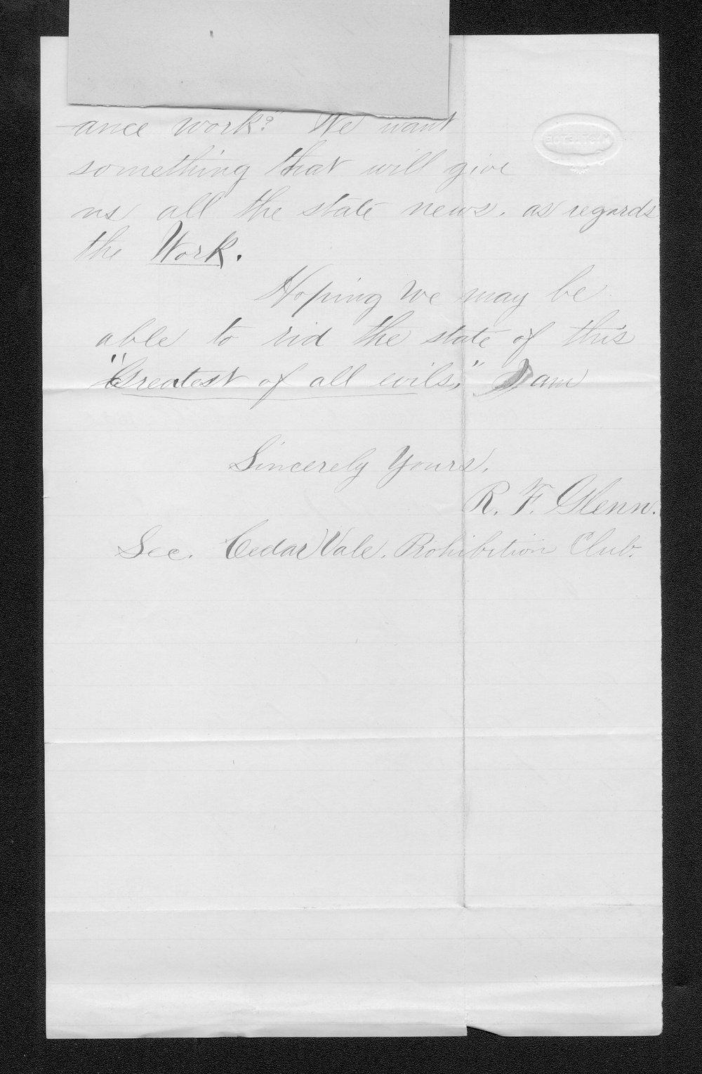 R. F. Glenn to Governor John St. John - 2