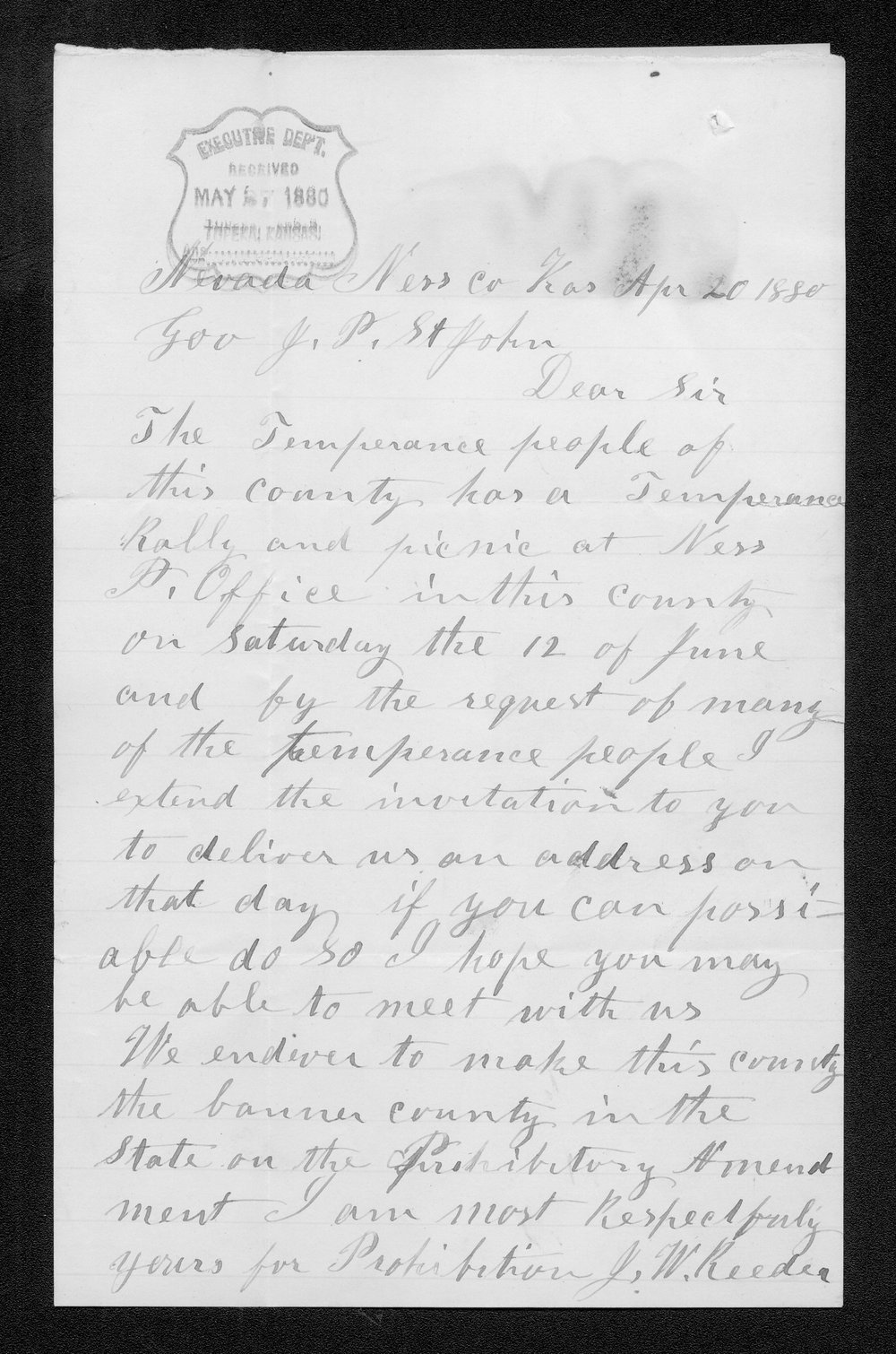 J. W. Reeder to Governor John St. John