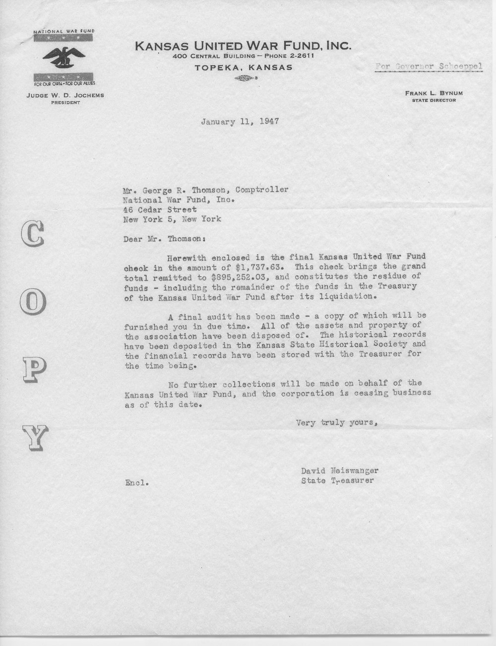 W.D. Jochems to Governor Andrew Schoeppel - 2