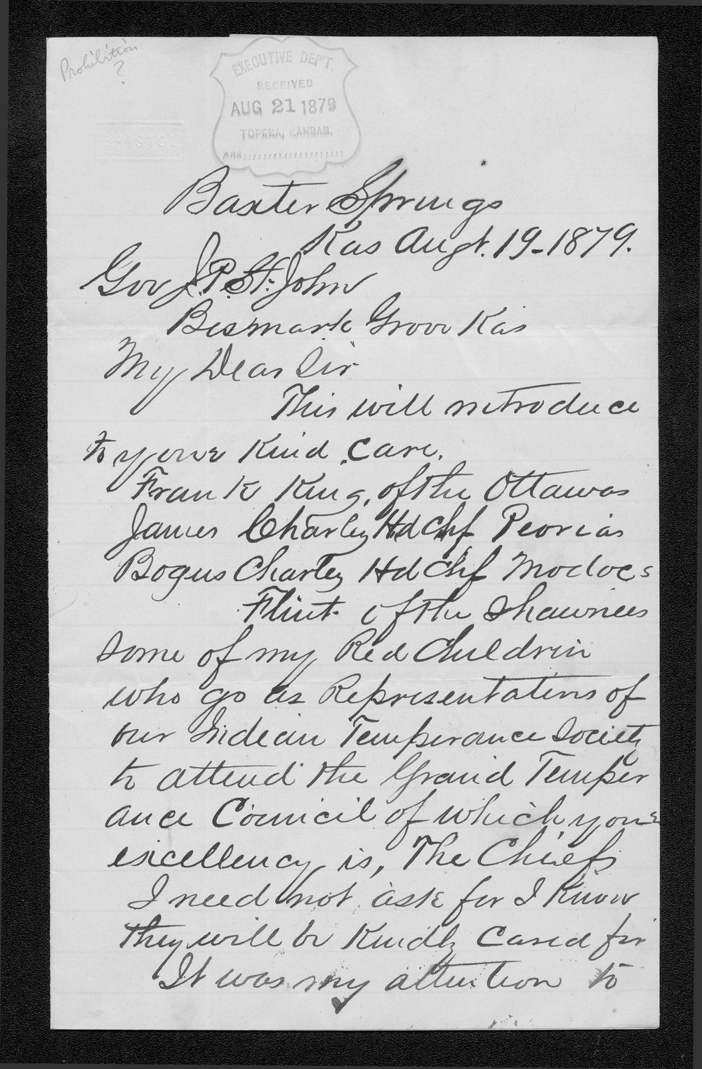 J.M. Haworth to Governor John St. John - 1