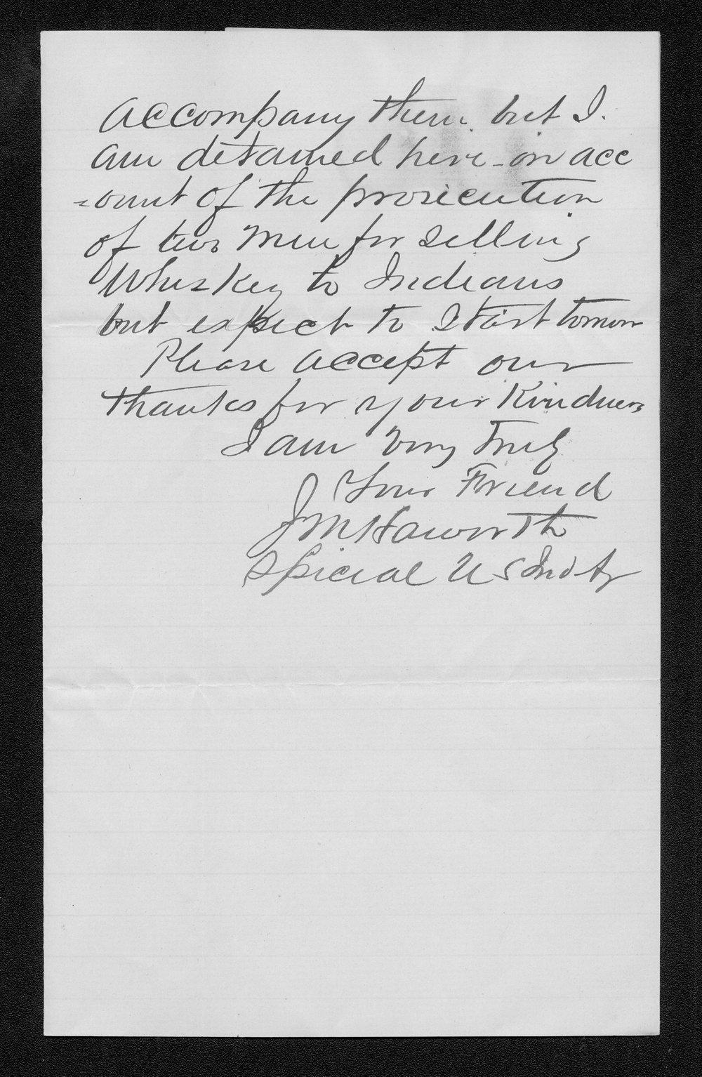 J.M. Haworth to Governor John St. John - 2