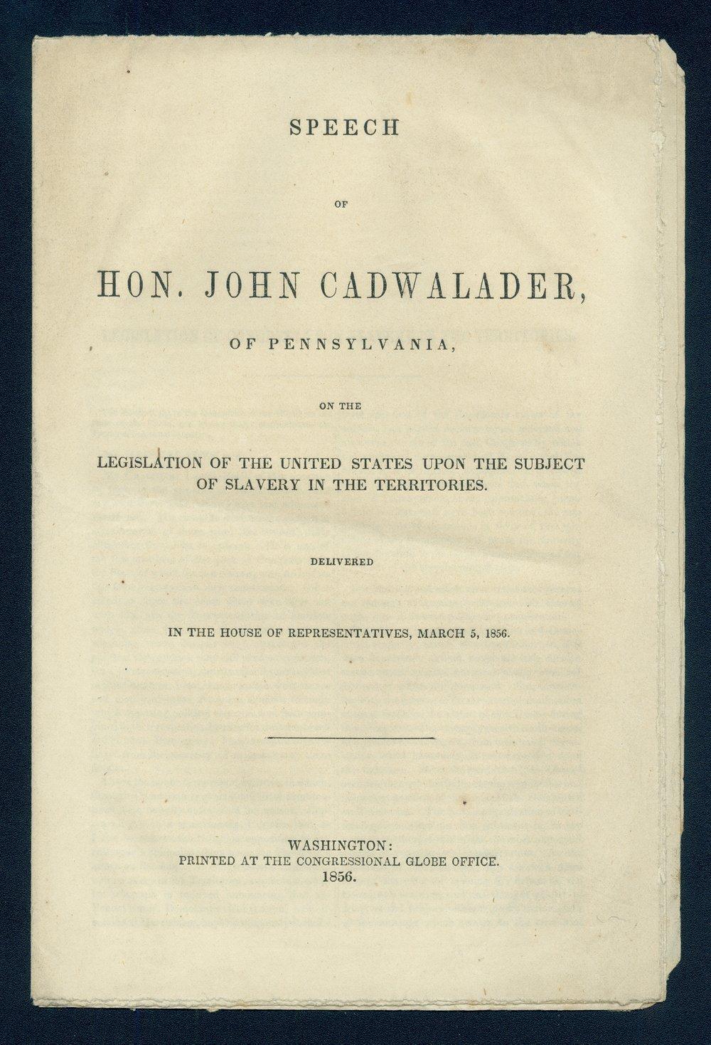Speech of Congressman John Cadwalader - Front Cover