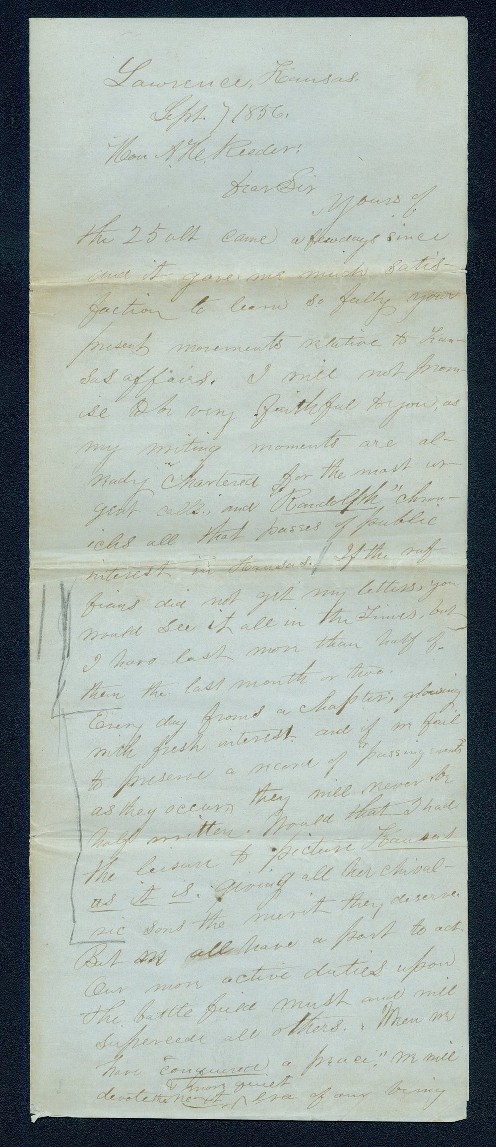 William Hutchinson to Andrew Horatio Reeder - 1