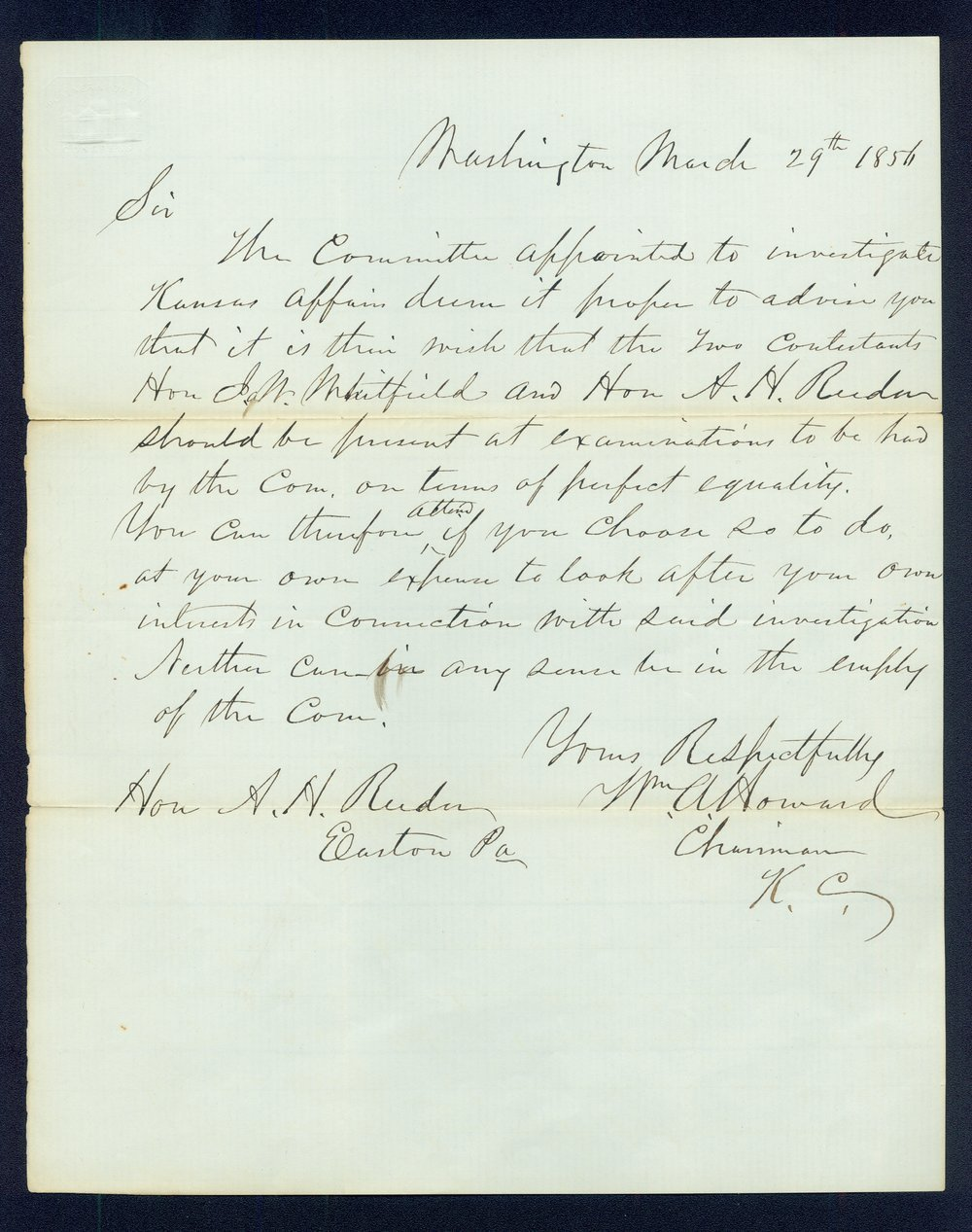 William A. Howard to Andrew Horatio Reeder - 1