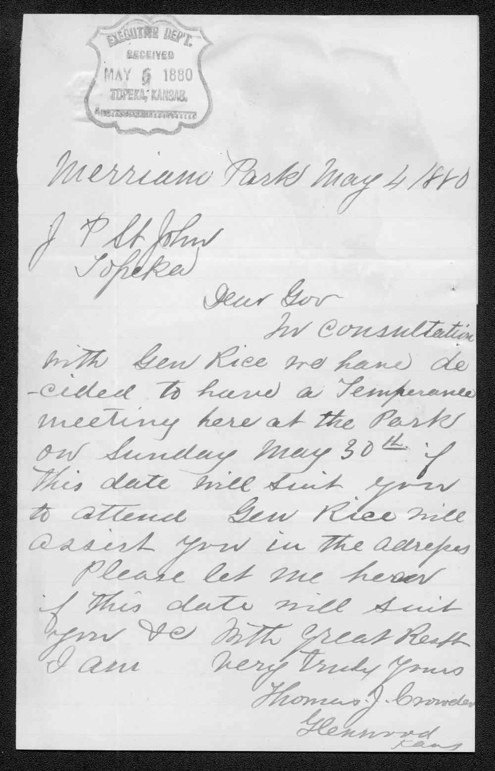 Thomas J. Crowder to Governor John St. John