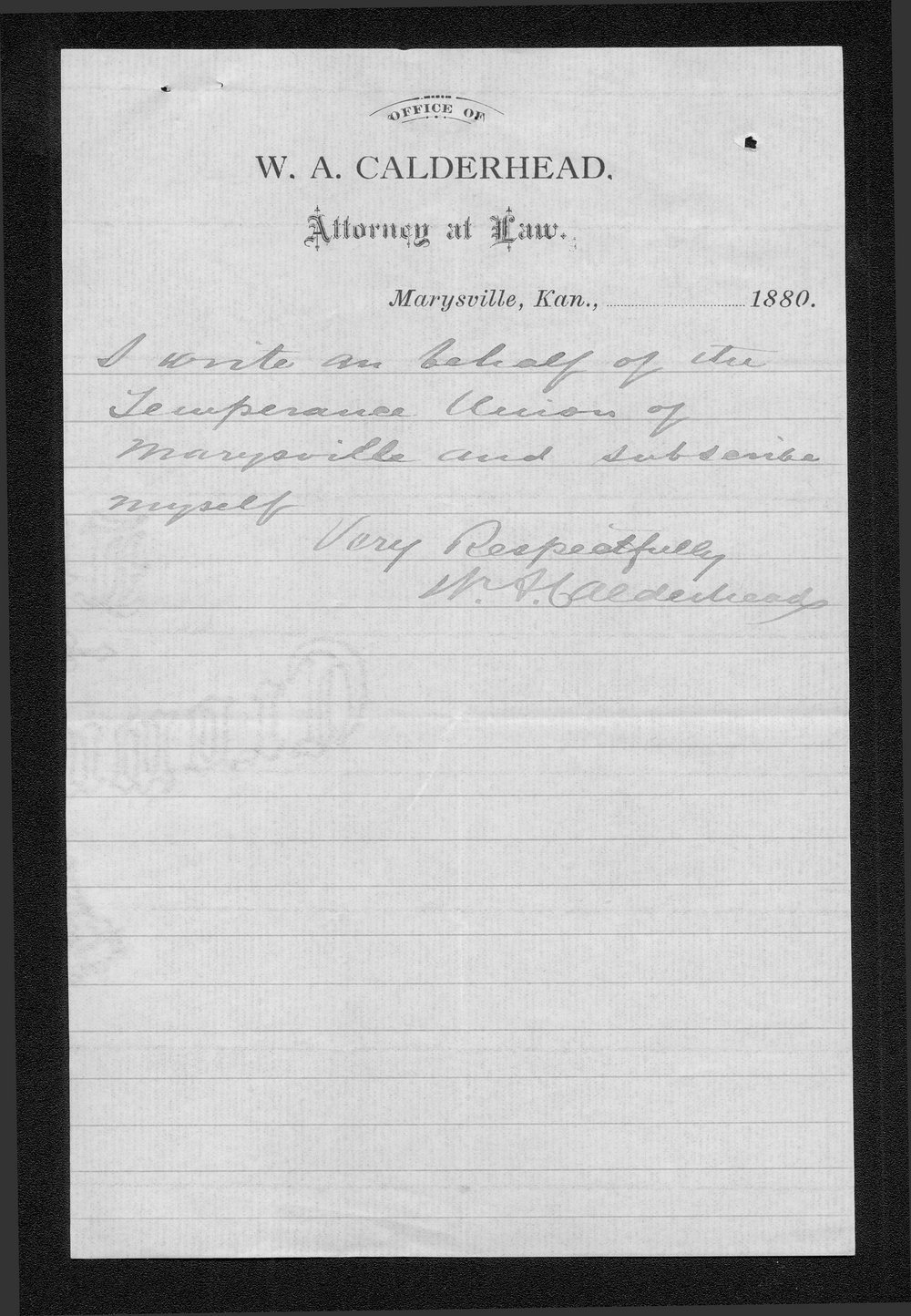 W. A. Calderhead to Governor John St. John - 3