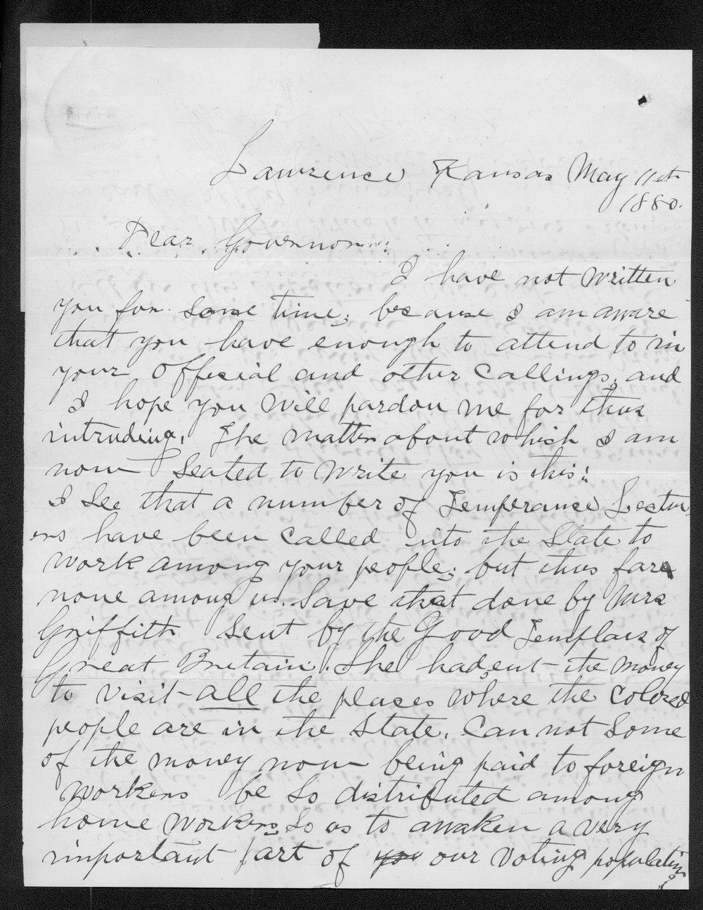 John Waller to Governor John St. John - 1