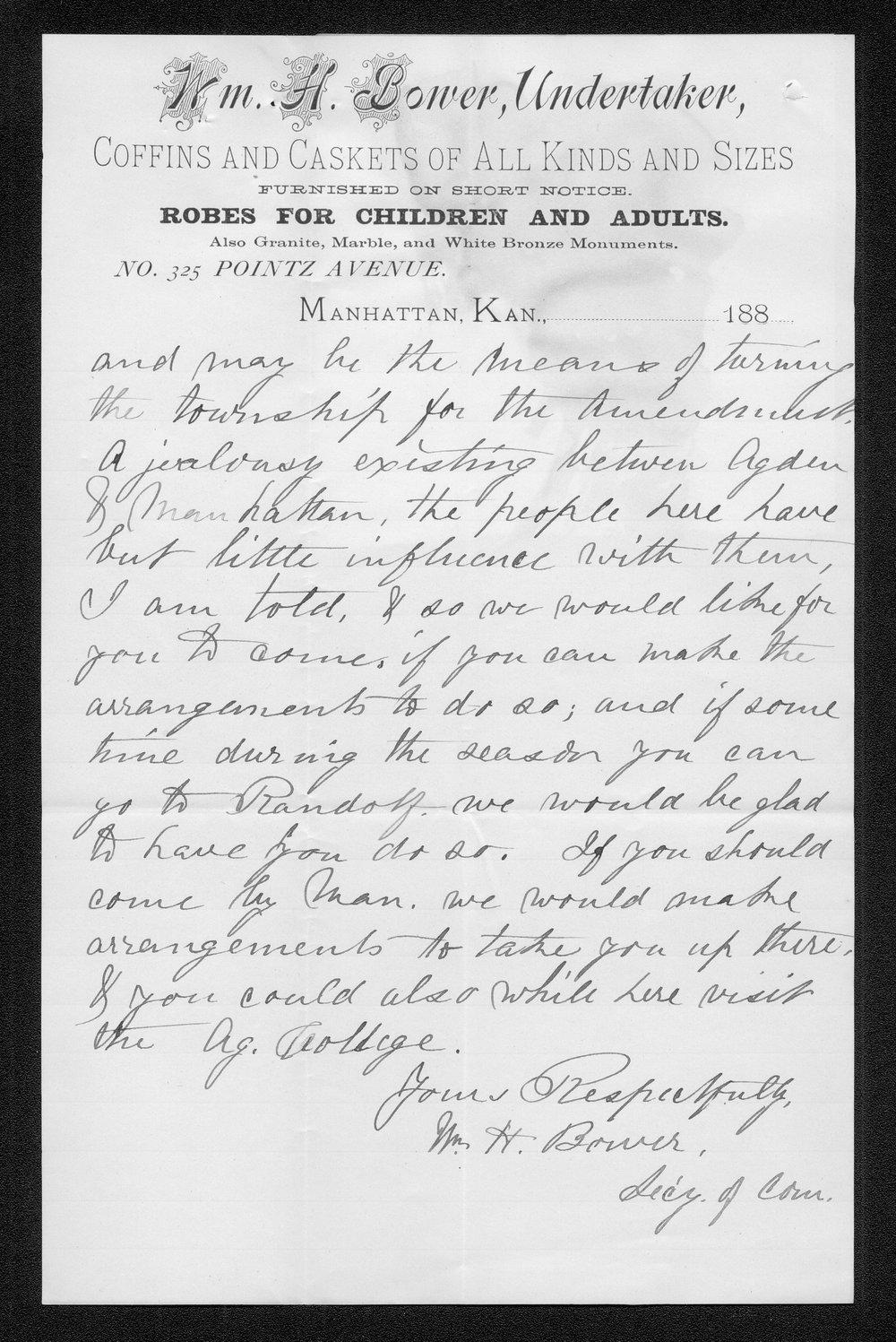 William H. Bower to Governor John St. John - 2