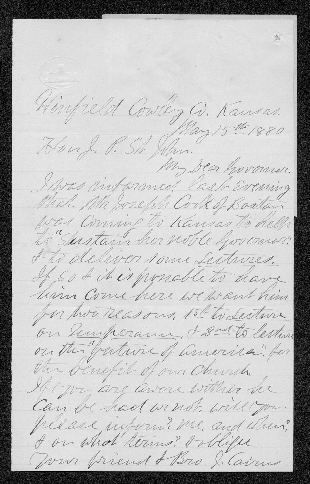 J. Cairns to Governor John St. John