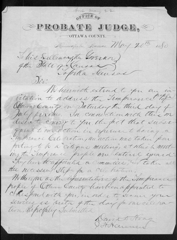 David D. Hoag and J. H. Hannus to Governor John St. John