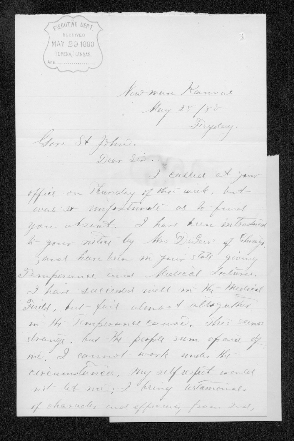 Annie B. Campbell to Governor John St. John - 1
