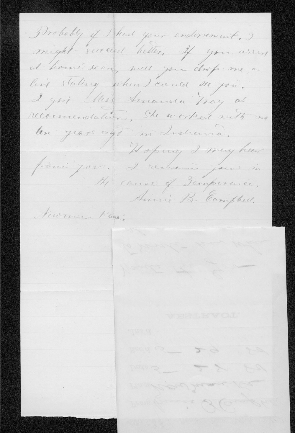 Annie B. Campbell to Governor John St. John - 2