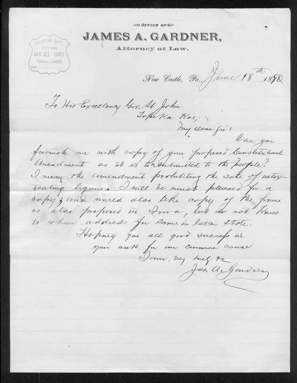 James A. Gardner to Governor John St. John