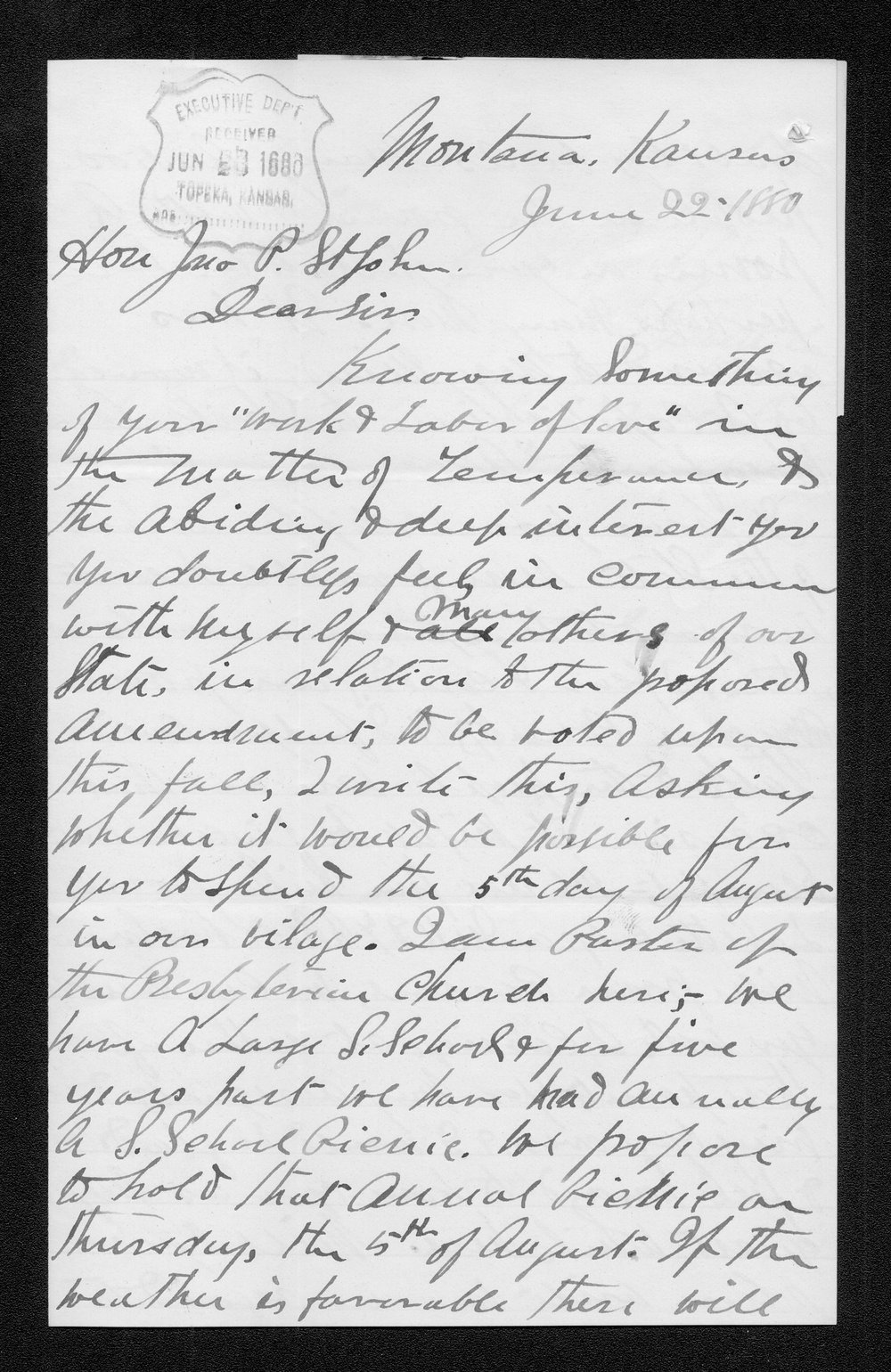 S. W. Griffin to Governor John St. John - 1