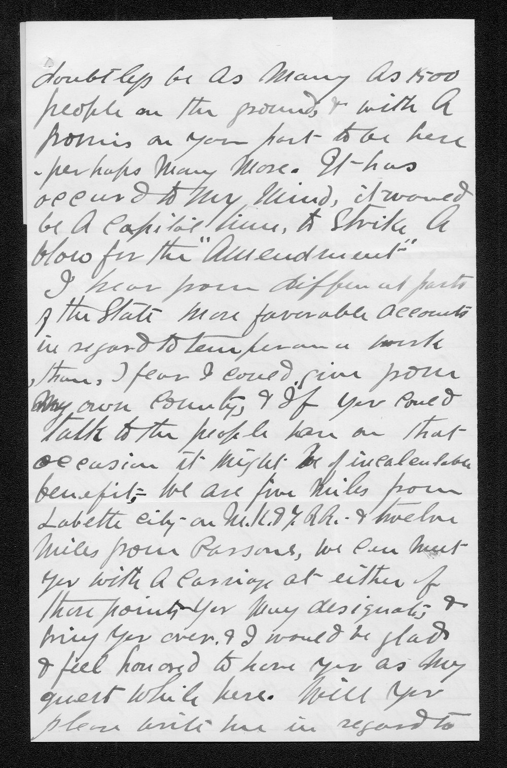 S. W. Griffin to Governor John St. John - 2