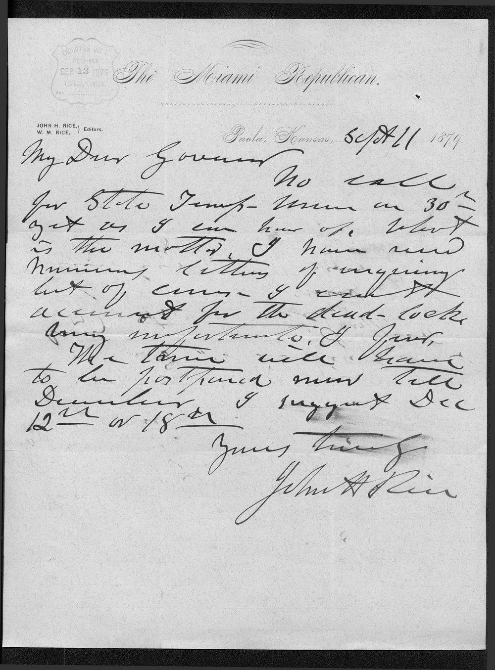 John H. Rice to Governor John St. John