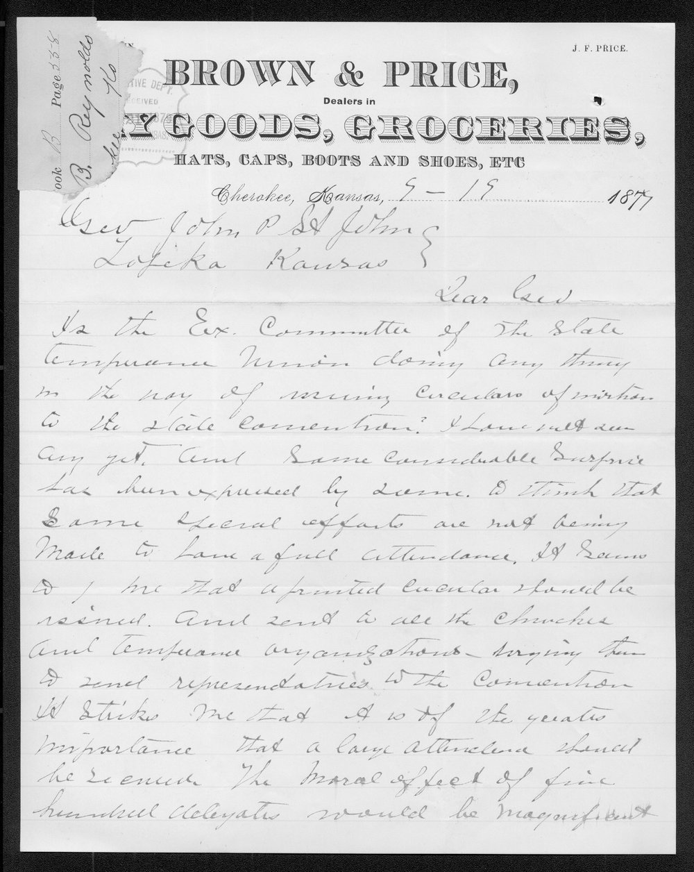 E. B. Reynolds to Governor John St. John - 1