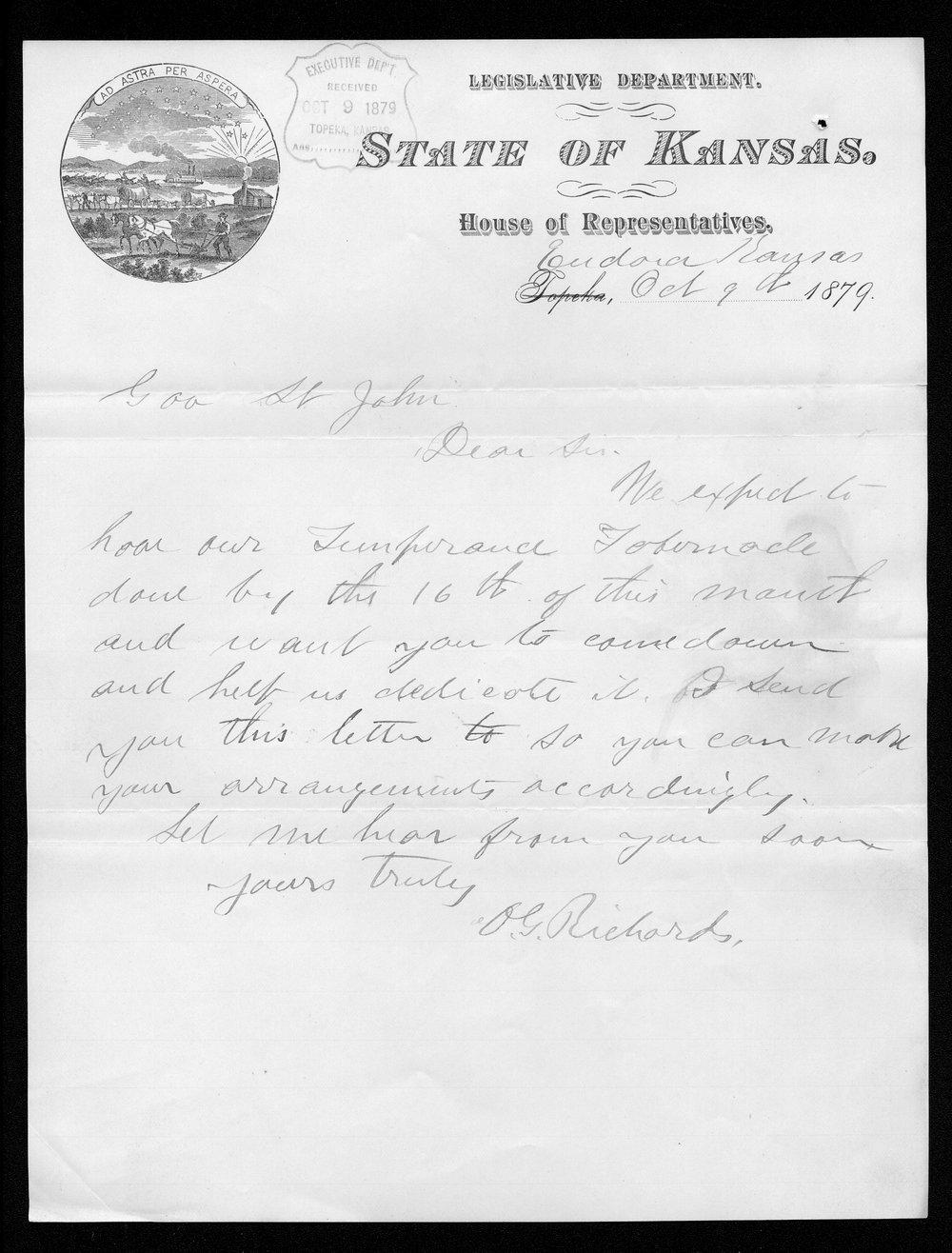 O.G. Richards to Governor John St. John