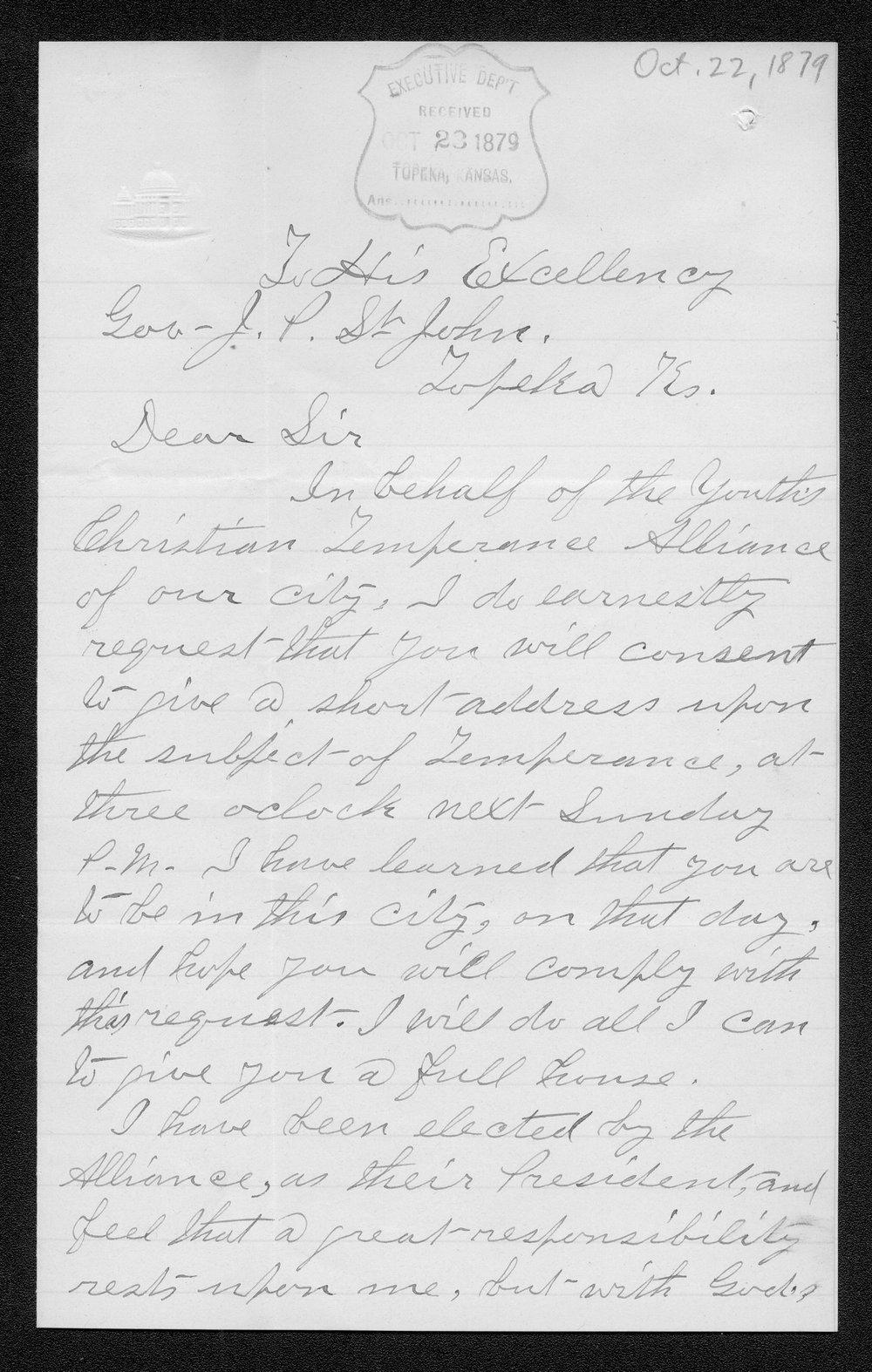 R.J. Brown to Governor John St. John - 1