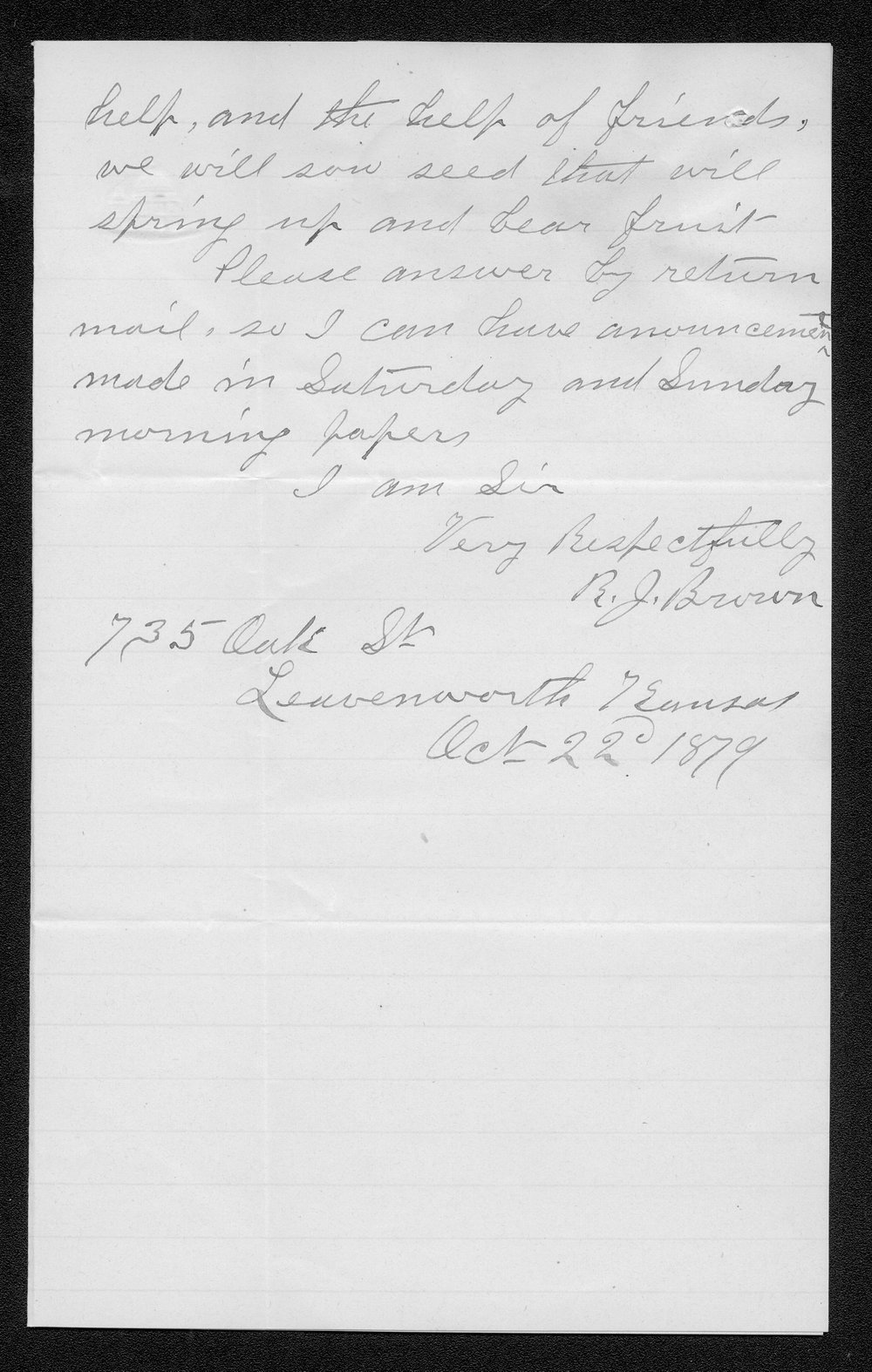 R.J. Brown to Governor John St. John - 2