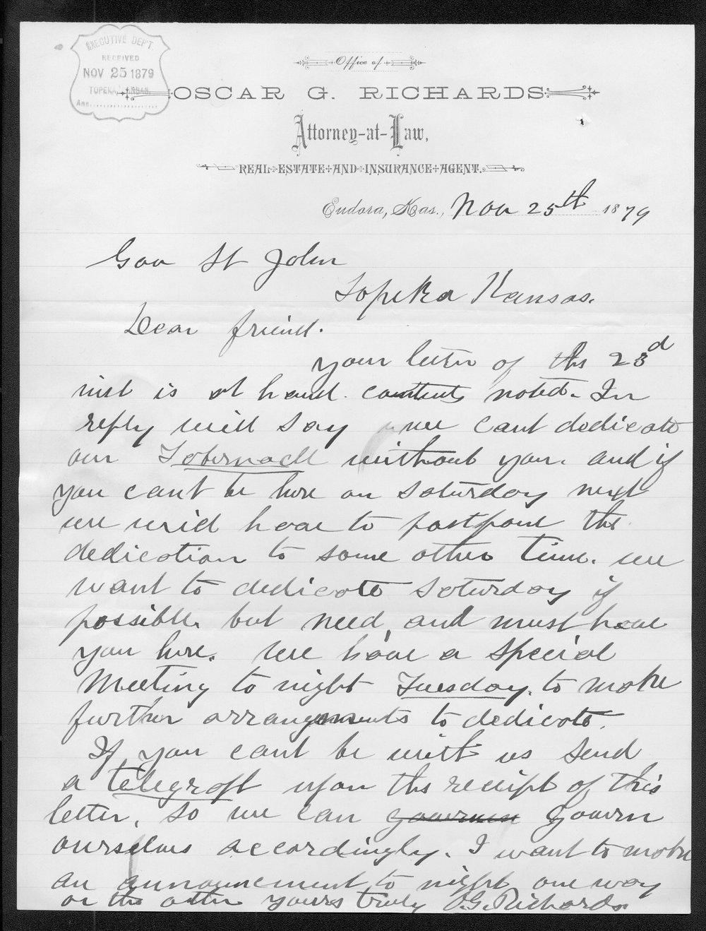 Oscar G. Richards to Governor John St. John