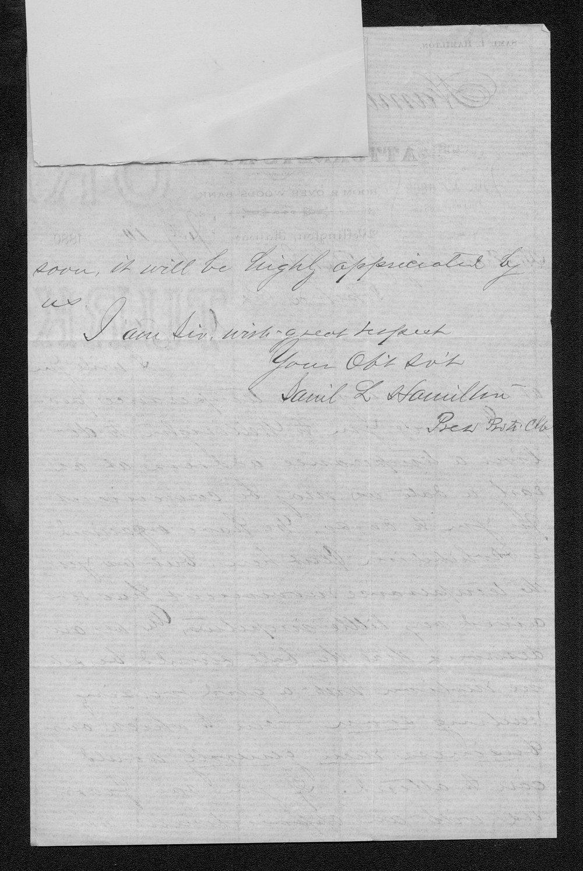 Samuel L. Hamilton to Governor John St. John - 2