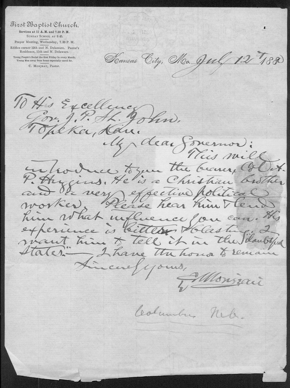 C. Monjeau to Governor John P. St.. John