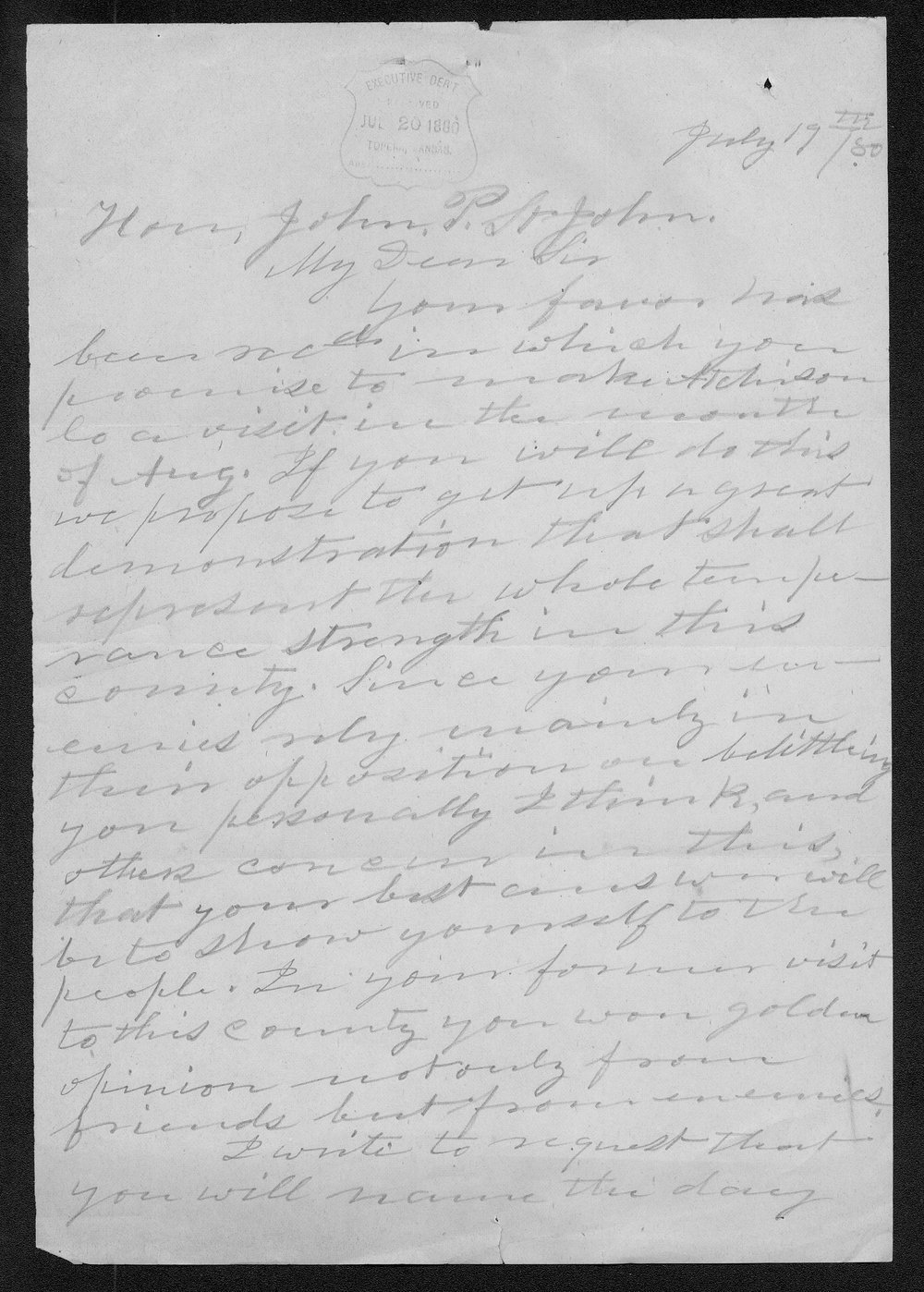 Pardee Butler to Governor John St. John - 1