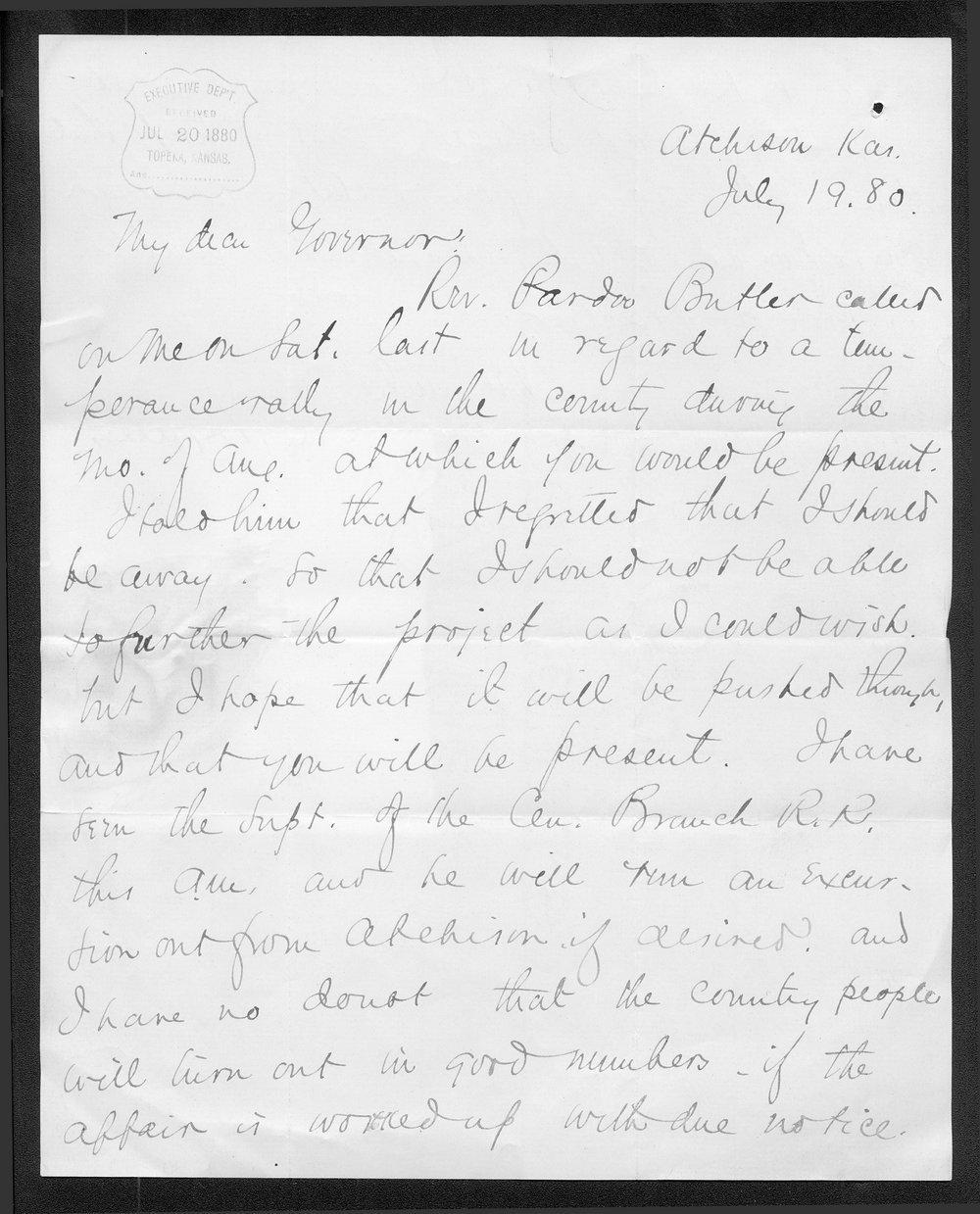 F. T. Ingalls to Governor John St. John - 1
