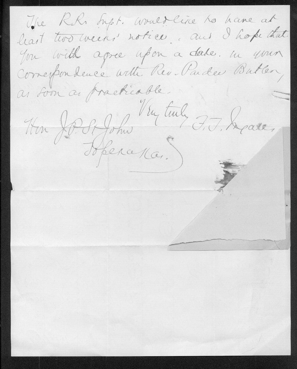 F. T. Ingalls to Governor John St. John - 2