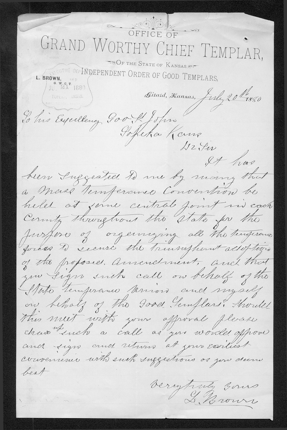 L. Brown to Governor John St. John