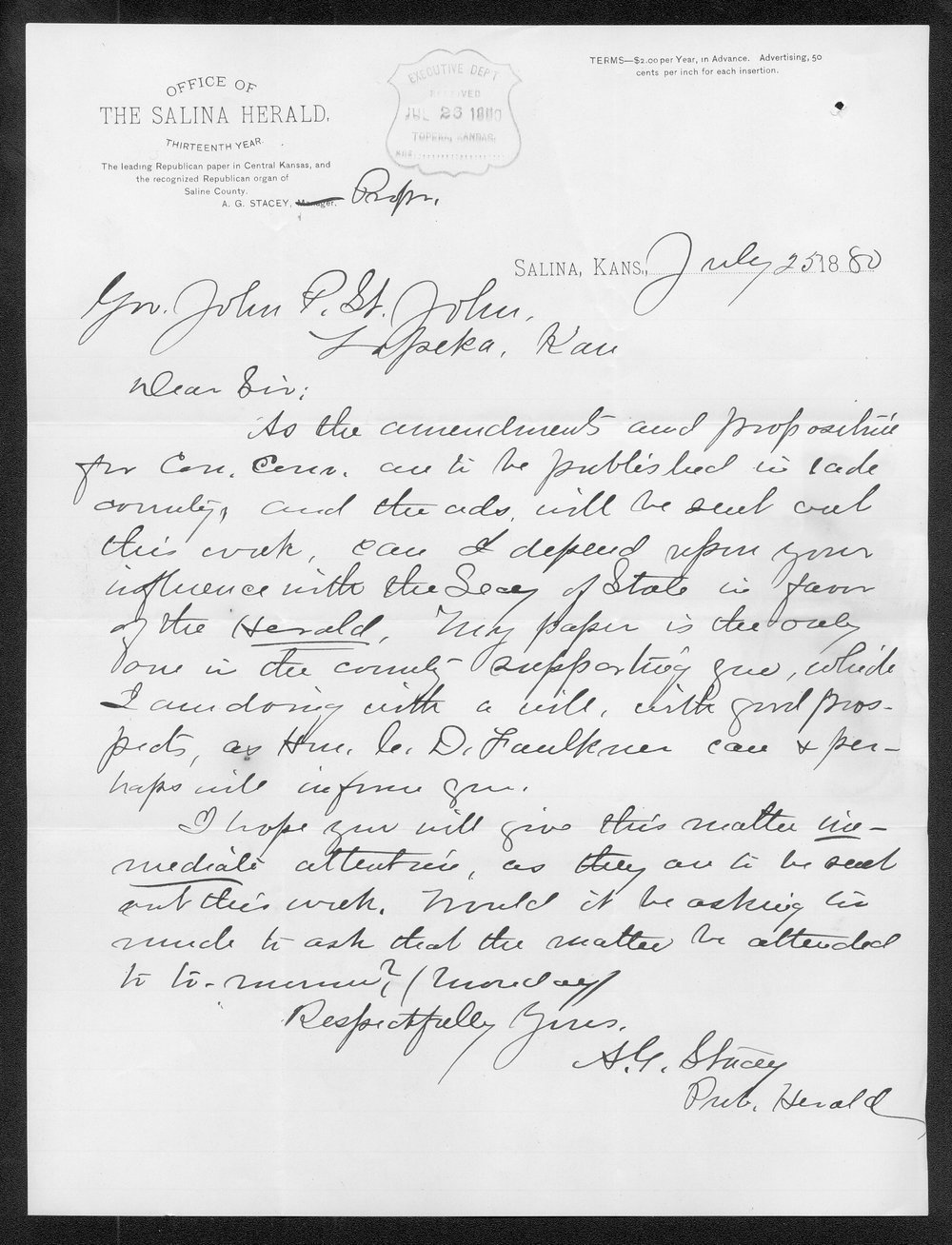 A. G. Stacy to Governor John St. John