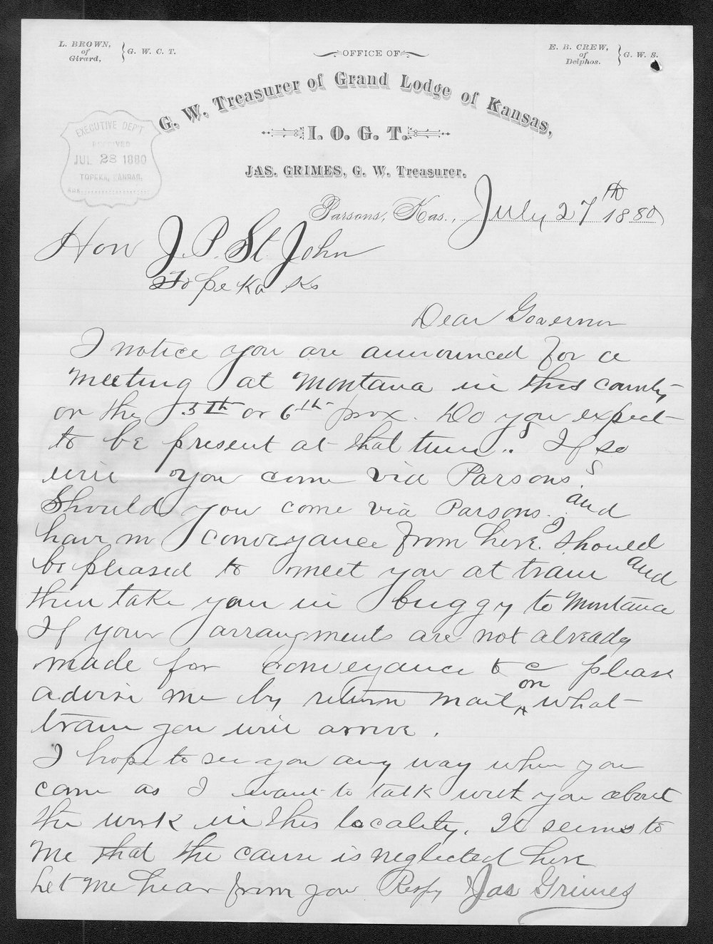 James Grimes to Governor John St. John